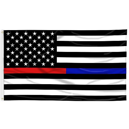 Thin Red & Thin Blue Line Black & White American Flag, 3' x 5'
