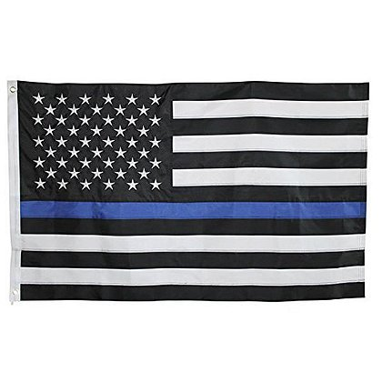 Durasleek Thin Blue Line American Flag, Sewn & Embroidered