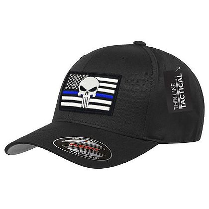 FlexFit Hat with Thin Blue Line Skull Flag