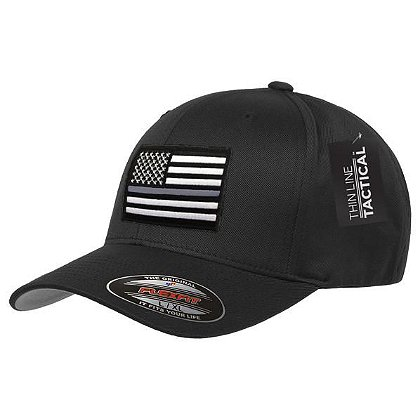 Thin Blue Line USA FlexFit Hat with Thin Silver Line