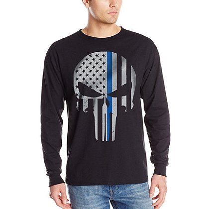 Thin Blue Line USA Long-Sleeve Thin Blue Line Skull T-Shirt