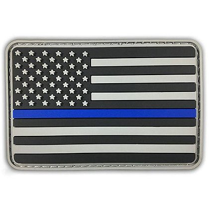 Thin Blue Line American Flag PVC Patch