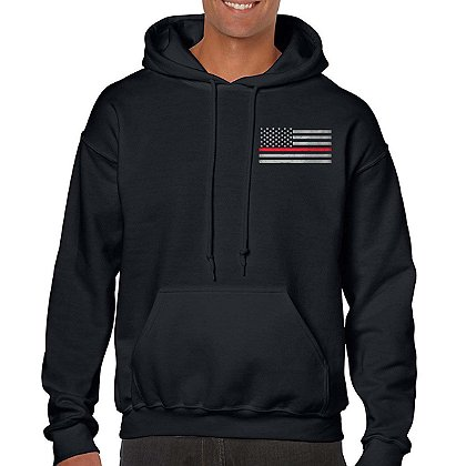Thin Blue Line USA Hoodie with Thin Red Line Flag