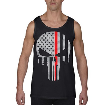 Thin Red Line Skull Tank Top