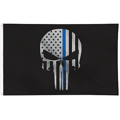 Thin Blue Line USA Thin Blue Line Skull Flag, 3' x 5'