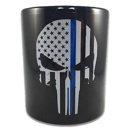 Thin Blue Line Skull Mug