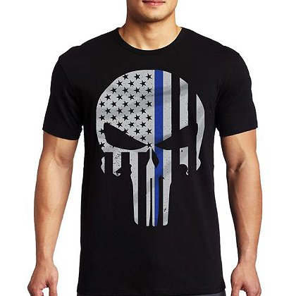 Thin Blue Line USA Short-Sleeve Thin Blue Line Skull T-Shirt