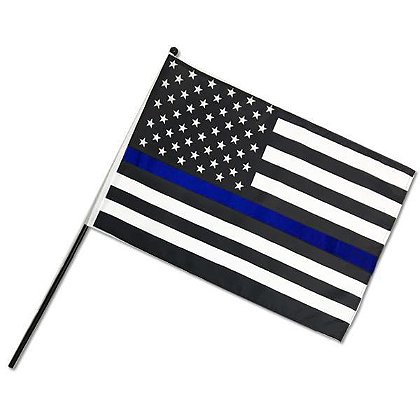 Thin Blue Line American Stick Flag 12 x 18