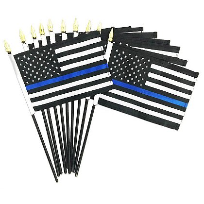 Thin Blue Line American Stick Flag