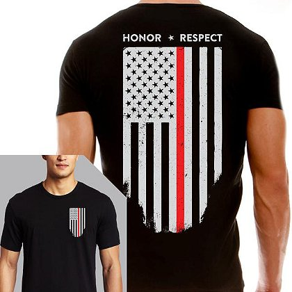 Thin Blue Line USA Short-Sleeve T-Shirt w/ Thin Red Line Flag