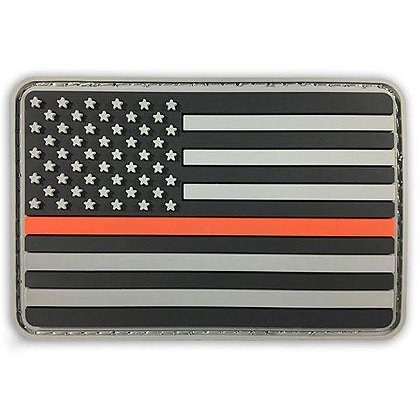 Thin Blue Line USA American Flag PVC Patch w/ Thin Red Line
