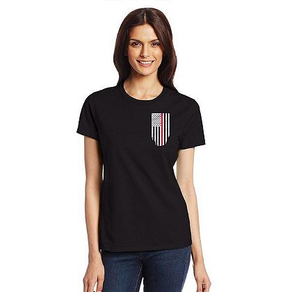 Thin Blue Line USA Women's Short-Sleeve T-Shirt with Thin Red Line Flag