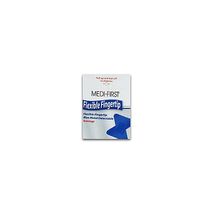 Medique Bandage Fingertip, Metal Detectable, Flexible Fabric, Woven, Blue, 50/Box