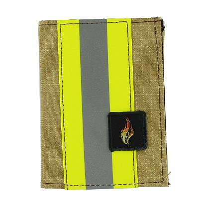 TheFireStore Exclusive Bunker Gear Trifold Dress Wallet with Single ID Window, PBI Gold Matrix, 2in Reflective Tape & Flame Patch