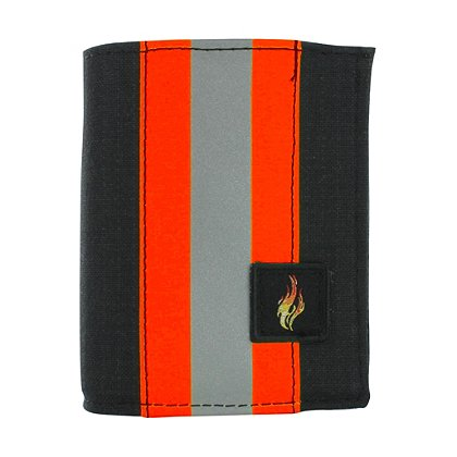 TheFireStore Exclusive Bunker Gear Bi-Fold Dress Wallet with 6 Credit Card Slots, Flip ID Window, Black PBI and Orange Triple Trim
