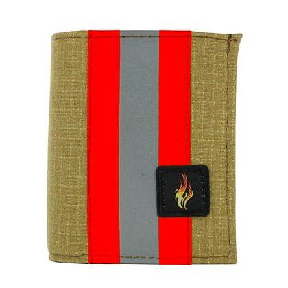 TheFireStore Exclusive Bunker Gear Bi-Fold Dress Wallet with 6 Credit Card Slots, Flip ID Window, Gold PBI and Orange Triple Trim