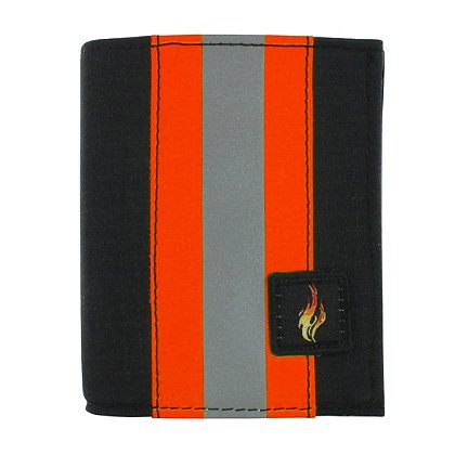 Exclusive Bunker Gear Dress Wallet with 6 Credit Card Slots, Flip Out Hidden ID Window, Black PBI and Orange Triple Trim