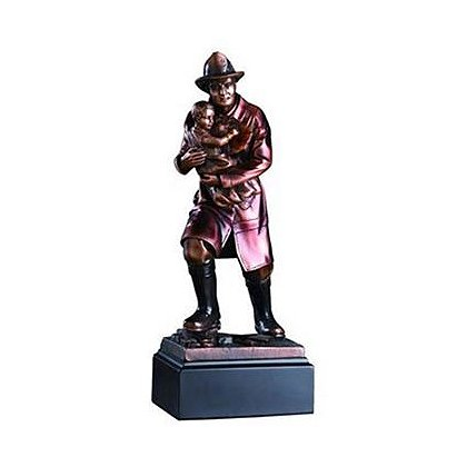 Fireman with Child Bronze Statue