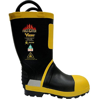 "Viking Wear: 14"" Firefighter Felt-Lined Rubber Boots"