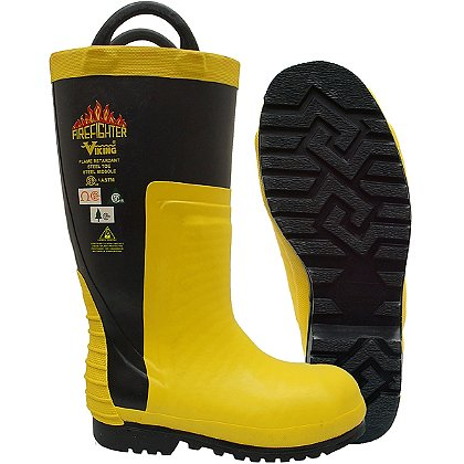 """Viking Wear: 16"""" Firefighter Chainsaw Protection Rubber Boots"""