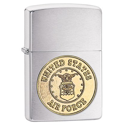 Zippo Brushed Chrome Lighter with U.S. Air Force Emblem
