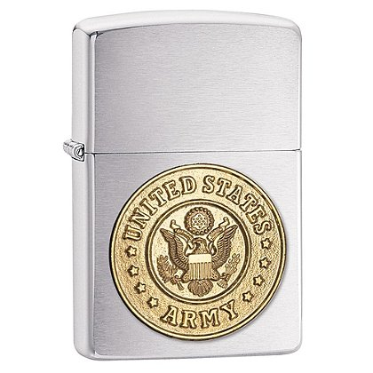 Zippo Brushed Chrome Lighter with U.S. Army Emblem