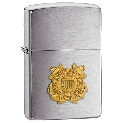 Zippo Brushed Chrome Lighter with U.S. Coast Guard Emblem