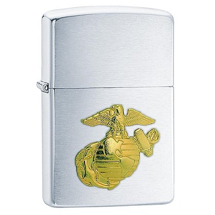 Zippo Brushed Chrome with Marine Emblem