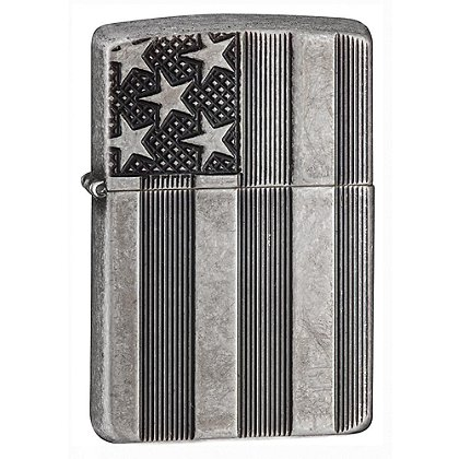 Zippo Antique Silver Plate American Flag Lighter