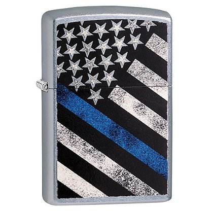 Zippo Street Chrome Blue Line Flag