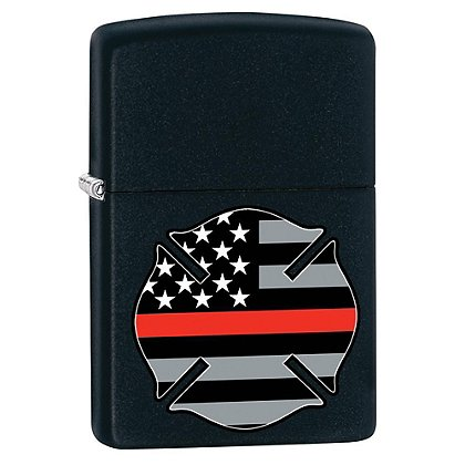 Zippo Thin Red Line Flag Black Matte Lighter