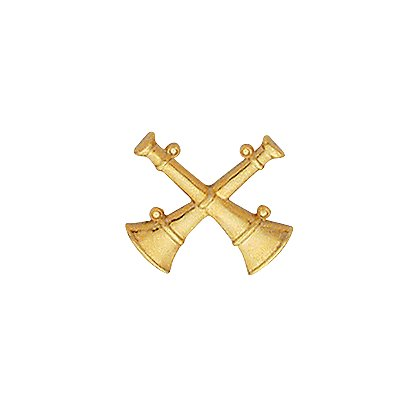 Smith & Warren Collar Pins, 2 Crossed Bugles, Di-Cut, Pair