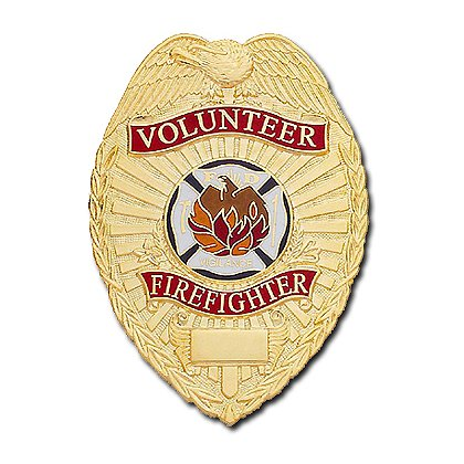 Smith & Warren Stock Badge, Volunteer Firefighter (Tear Drop)