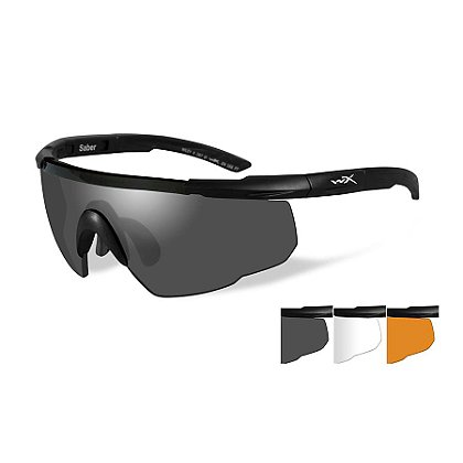 Wiley X Saber Advanced, Smoke Grey/Rust/Clear Lenses and Matte Black Frame Kit