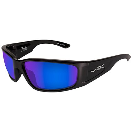 Wiley X Zak Sunglasses, Polarized Blue Mirror Lens, Gloss Black
