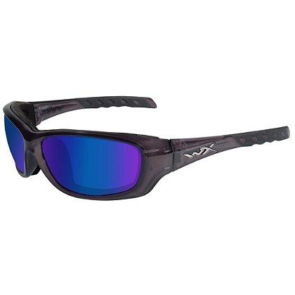 Wiley X Gravity Sunglasses, Polarized Blue Mirror Lens, Black Crystal Frame