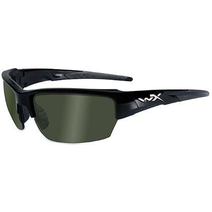 Wiley X Saint Sunglasses, Polarized Smoke Green Lens, Gloss Black Frame
