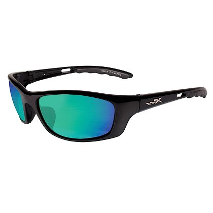 Wiley X P-17 Sunglasses, Polarized Emerald Mirror Lens, Gloss Black Frame