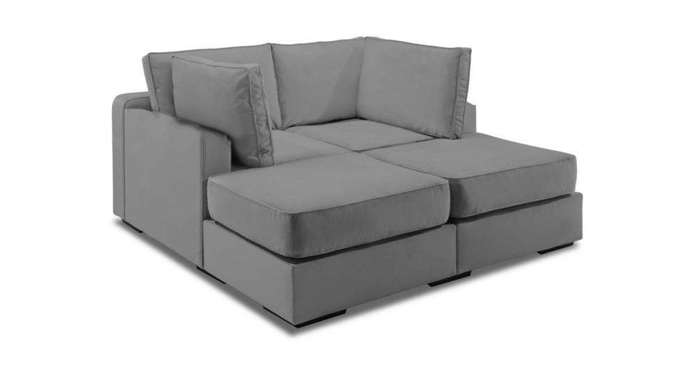movie lounger with taupe combed chenille covers