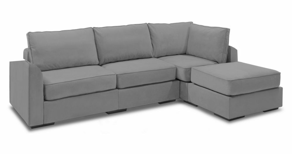 Cream Corded Velvet Supersac Chaise Sectional