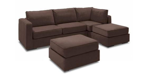 Chaise Sectional & Ottoman with Chocolate Padded Velvet Covers