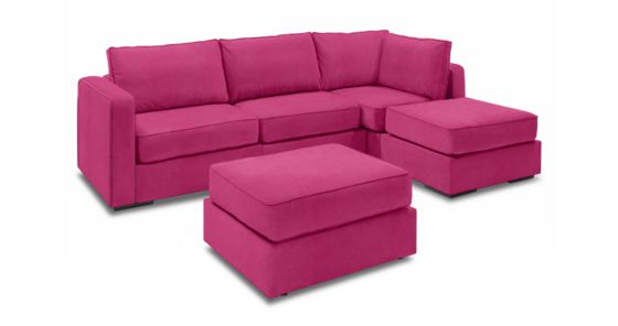 Chaise Sectional & Ottoman with Hot Pink Micro Velvet Covers - Lovesac Sectional Couches With Ottomans And Ottoman Sofa Furniture